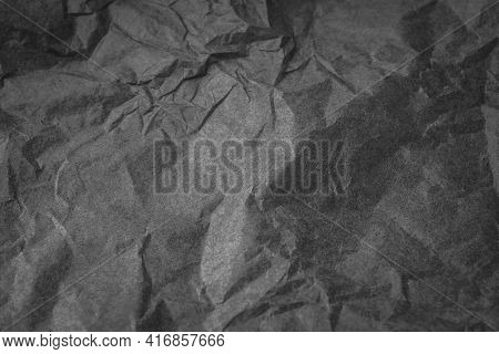 Black Color Creased Paper Tissue Background Texture, Wrinkled Tissue Paper Texture