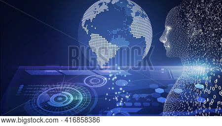 Composition of human digital bust with binary coding processing and globe over scopes scanning. global technology, digital interface and data processing concept digitally generated image.