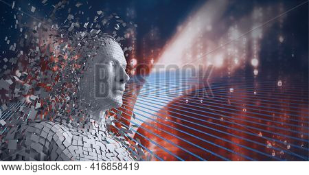 Composition of exploding human digital head over binary coding processing. global technology, digital interface and data processing concept digitally generated image.