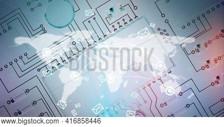 Composition of world map with digital email envelope icons over processor circuit board. global technology, digital interface and data processing concept digitally generated image.