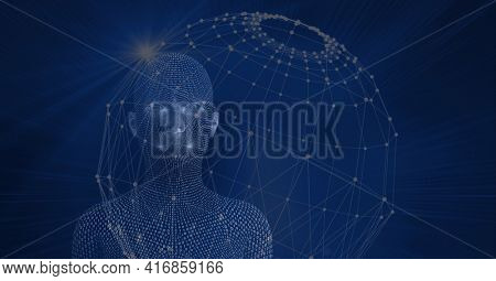 Composition of human digital head over globe formed with network of connections. global technology, digital interface and data processing concept digitally generated image.