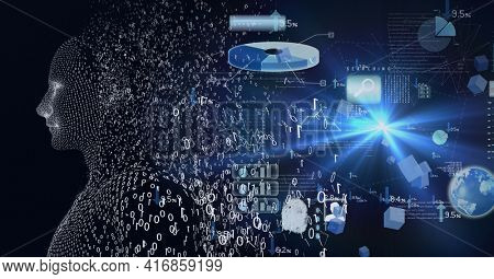 Composition of exploding human digital bust with binary coding processing and data processing. global technology, digital interface and data processing concept digitally generated image.