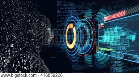 Composition of exploding human digital head with scopes scanning and data processing. global technology, digital interface and data processing concept digitally generated image.
