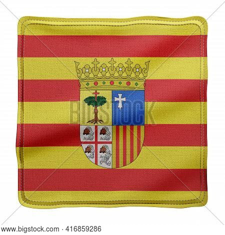 3d Rendering Of A Silked Aragon Spanish Community Flag On A White Background