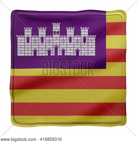 3d Rendering Of A Silked Balearic Islands Spanish Community Flag On A White Background