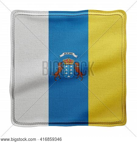 3d Rendering Of A Silked Canary Islands Spanish Community Flag On A White Background
