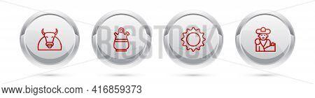 Set Line Bull, Sangria Pitcher, Sun And Bullfight, Matador. Silver Circle Button. Vector