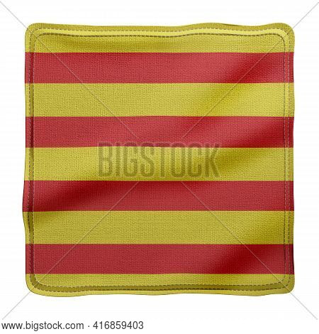 3d Rendering Of A Silked Catalonia Spanish Community Flag On A White Background