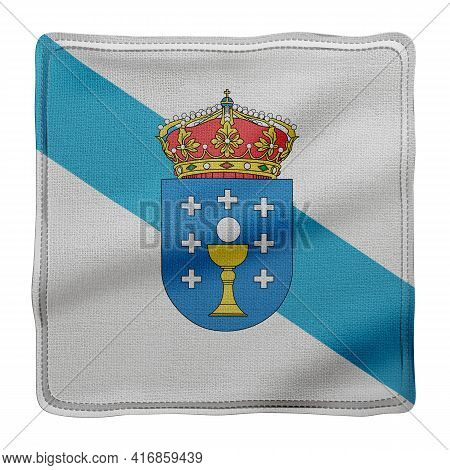 3d Rendering Of A Silked Galicia Spanish Community Flag On A White Background