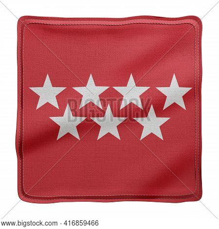 3d Rendering Of A Silked Madrid Spanish Community Flag On A White Background
