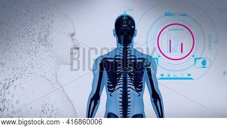 Composition of human digital head over scope scanning x-ray of human body. global technology, digital interface and data processing concept digitally generated image.