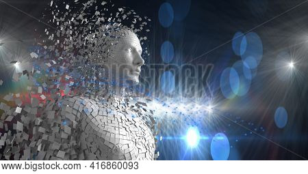 Computer generated human dissolving into pieces over blue background. technology and cyber futurism concept, digitally generated image.