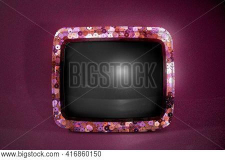 Retro TV black screen with glitter border
