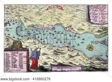 Sea battle in the bay of Vigo, vintage engraving.
