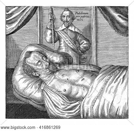 The corpse of the murdered Sebastiaen de la Ruelle, mayor of Liege, by Reinier van Renes, vintage engraving.