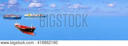 Cargo Ship Sailing On The Sea