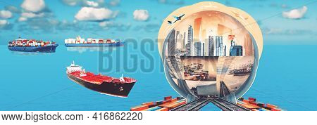 Industrial Container Cargo Freight Ship For Import Or Export In Port. Abstract Design Background, Tr