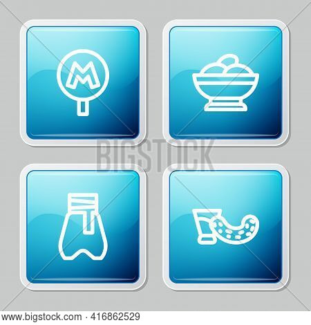 Set Line Metro Or Underground, Varenyky In A Bowl, Cossack Pants And Glass With Vodka Icon. Vector