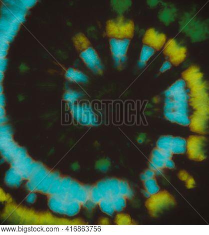 Psychedelic Tie Dye. Hippie Spiral Design. Fantasy Color Shirt. Art Grunge Style. Batik Background.