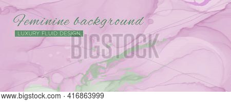 Pink Elegant Background. Liquid Marble Effect. Graphic Pastel Frame. Fluid Design. Rose Elegant Back