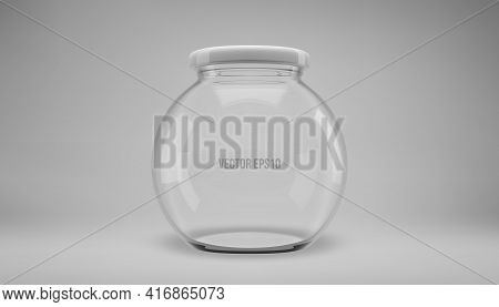 Glass Jam Jar With A Lid. A Transparent Jar With A White Lid.
