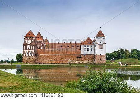 Mir Castle Complex Is A Unesco World Heritage Site In Mir Town, Belarus. View From Lake