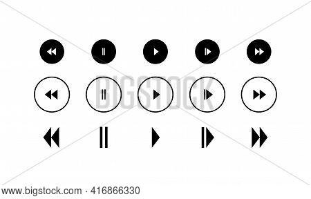 Media Player Icons Set. Play, Pause, Forward And Backward Symbols. Vector Illustration