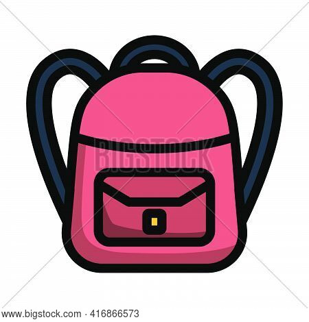 Icon Of School Rucksack. Editable Bold Outline With Color Fill Design. Vector Illustration.
