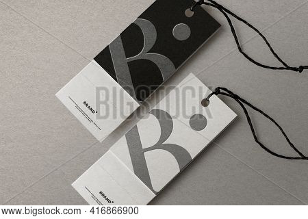 Clothing tag with design space for fashion brands