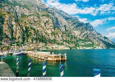 Limone Sul Garda, Italy - Septembre 16, 2019: Harbor Of Garda Lake, Italy.