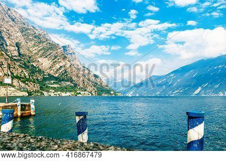 View Of The Old Port Of Garda Lake . Limone Sul Garda City