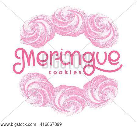 Logotype With Pink Airy French Meringue Twirls, Marshmallow, Zephyr. Sweetness, Sweet Cake. Sketch W