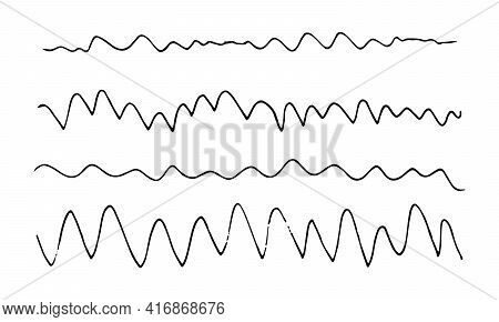 Graphite Hand Drawn Liner Pencil Vector Wavy Lines Illustration. Doodle Style Set Of Waves Strokes,