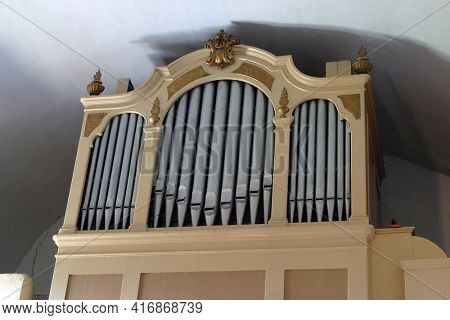 SVETA JANA, CROATIA - JULY 22, 2013: Organ at St. Anne Parish Church in Sveti Jana, Croatia