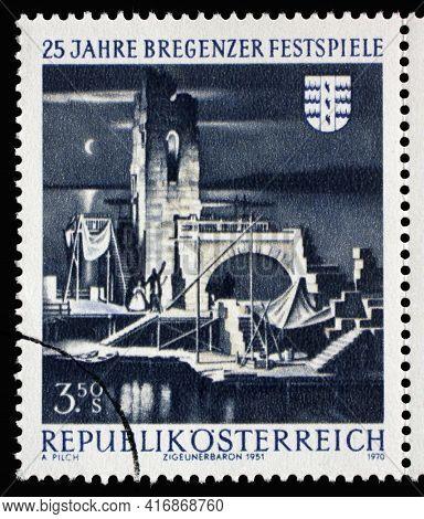 ZAGREB, CROATIA - SEPTEMBER 09, 2014: Stamp printed in the Austria shows Bregenz Festival Stage, 25th Anniversary of Bregenz Festival, circa 1970