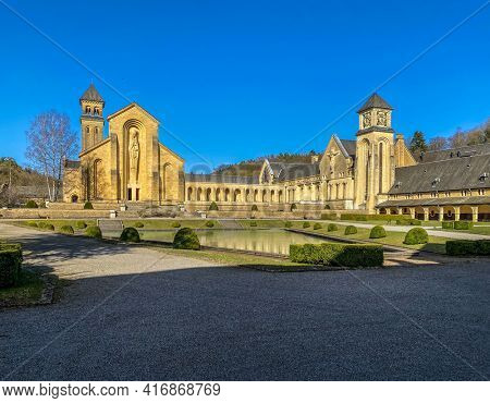 Trappist Cistercian Orval Abbey or Abbaye Notre-Dame d'Orval, Trappist beer, Villers-devant-Orval, Luxembourg, Belgium