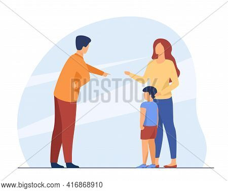 Dad Scolding Little Boy And Mom Protecting Him. Mother, Father, Kid Flat Vector Illustration. Family