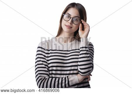 Portrait Shot Of Beautiful Young Woman Wearing Eyewear While Standing At Isolated Grey Background. C