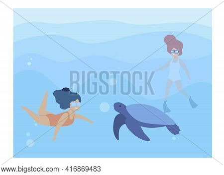 Two Happy Little Girls Swimming With Turtle. Swimsuit, Mammal, Underwater Flat Vector Illustration.