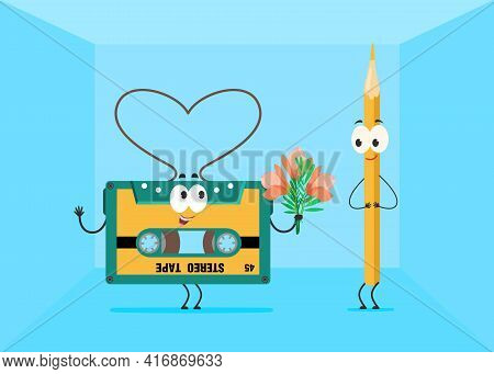 Cartoon Cassette Tape Giving Flowers To Pencil Character. Using Pen As Tool To Manually Rewind Reel