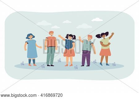 Cartoon Diverse Children Group Standing And Smiling Together. Flat Vector Illustration. African, Ame