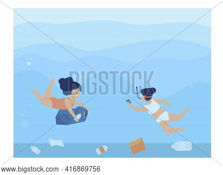 Cute Little Girls Collecting Trash From Sea Bottom. Garbage, Plastic, Bag Flat Vector Illustration.