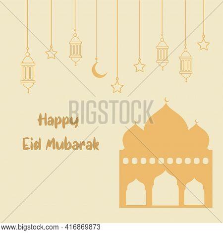 Eid Mubarak Background Vector Arabic Style Vector