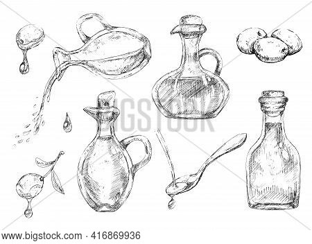 Big Set Of Different Glass Oil Bottles With Olives, Italian Or Greek Cuisine Graphic Elements