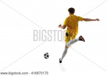 Young Man, Male Soccer Football Player Training Isolated On White Background.