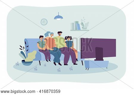 Cartoon Family Watching Tv At Home In Living Room Together. Flat Vector Illustration. Happy Man And