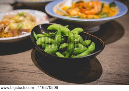 Soybeans Are Commonly Served At Japanese Restaurants. Pods Are Cooked In Boiling Salted Water