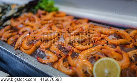 Picture Of Fresh Shrimps Seafood On Ice In Buffet Line At Luxury Restaurant