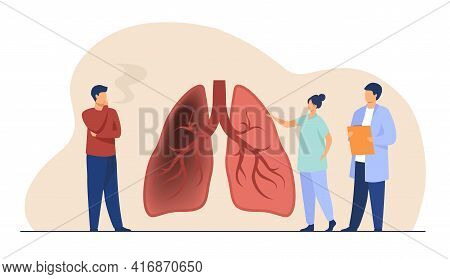 Tiny Doctor Showing Lungs Of Smoker. Organ, Physician, Health Flat Vector Illustration. Healthcare A
