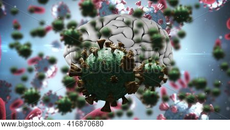 Coronavirus cells floating over computer generated human brain, covid-19 and pandemic concept. digitally generated image.